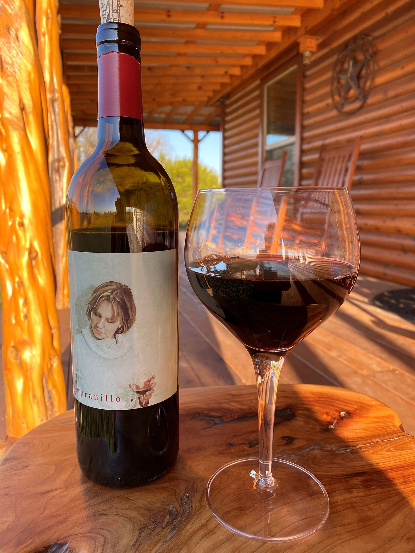 Red Caboose Wine at the Cabin by Janie Pace