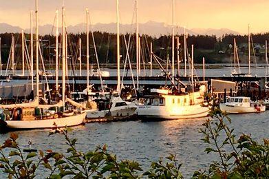 Whidbey Island Marina at Sunset, Washington Photo by Linda Stewart