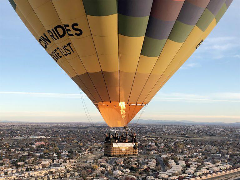 Hot air balloon flight over Albuquerque ~ Image by copyright Deborah Stone