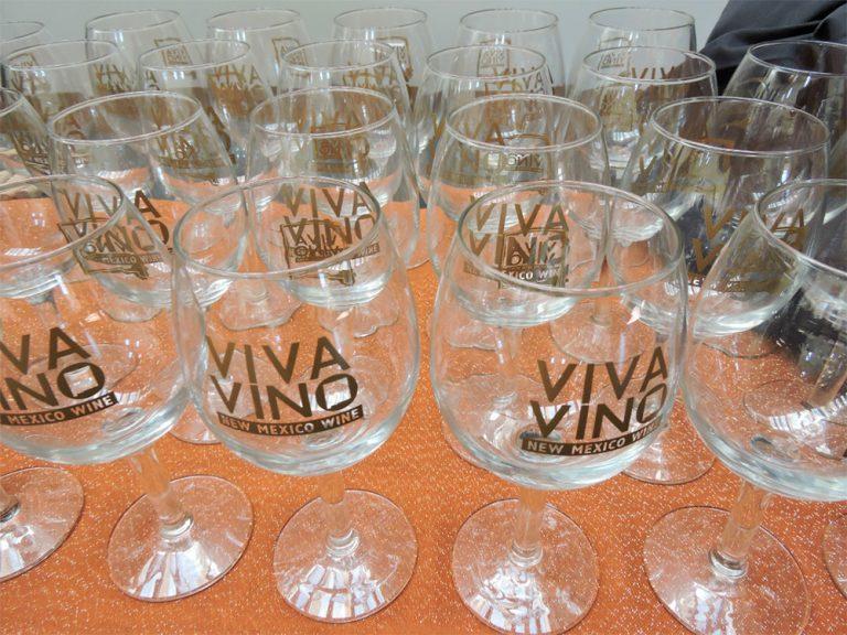 Viva Vino New Mexico wine glasses ready for wine tasting