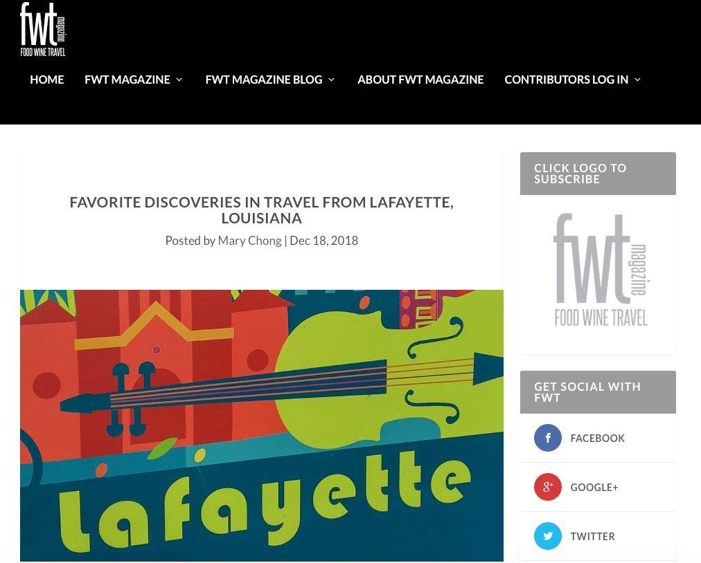 Lafayette Louisiana featured in FWT Magazine