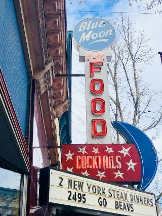 Historic sign for Blue Moon Bar & Grill in McMinnville Image by Priscilla Willis