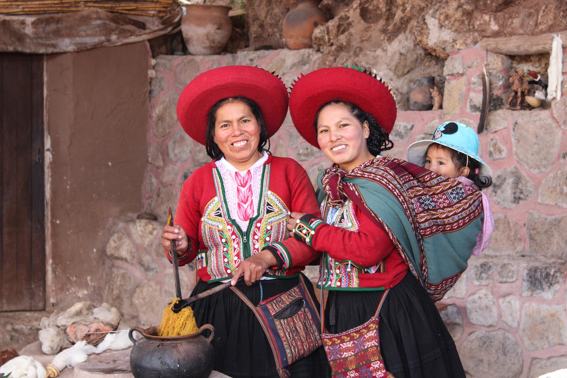 Quechua Weavers Dying Wool by Janie Pace